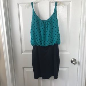4/$25 Body Central Teal Polka Dot Fitted Dress
